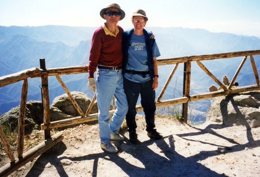 For her father Ernest Ohle's 80th birthday, Liz Ohle of St. John's accompanied him on a 1998 trip to see Copper Canyon in Mexico, where copper had been mined many decades before. He had exchanged his geology pick for a camera in his retirement, but still wore his helmet.  - Contributed