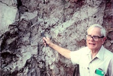 The late Ernest Ohle with his geology pick teaching about dolomite. The pick has been stolen from his daughter's car in St. John's.