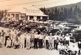A group of Maritimers, including approximately nine from Prince Edward Island, participate in an Antique Car Tour to Expo 67 in Edmundston, N.B.