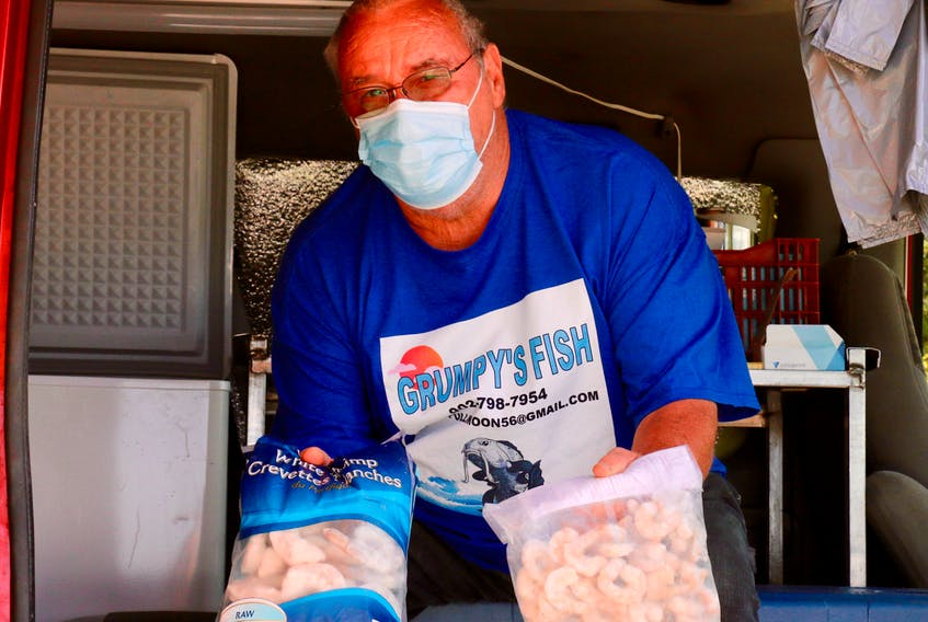 Whether a customer wants regular or jumbo-sized shrimp, chances are good that Brad Collins has it on board at Grumpy's Fish.