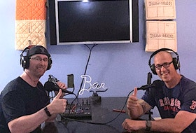 Randy Frame, left and Chris Hopewell are in the podcast room working on another episode of Outside The Chute.