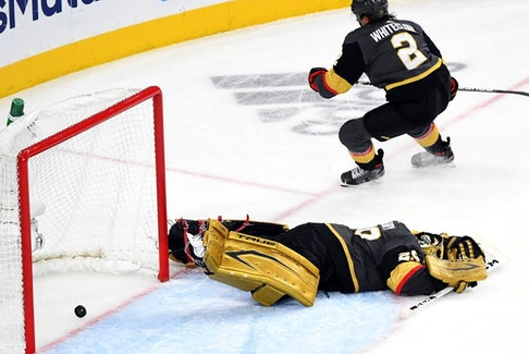 Marc-André Fleury #29 of the Vegas Golden Knights reacts after allowing a goal to Cole Caufield (not pictured) of the Montreal Canadiens during the second period in Game 5 of the Stanley Cup Semifinals of the 2021 Stanley Cup Playoffs at T-Mobile Arena on June 22, 2021 in Las Vegas, Nevada.