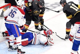 Carey Price #31 of the Montreal Canadiens makes the save against Reilly Smith #19 of the Vegas Golden Knights during the third period in Game Five of the Stanley Cup Semifinals of the 2021 Stanley Cup Playoffs at T-Mobile Arena on June 22, 2021 in Las Vegas, Nevada.