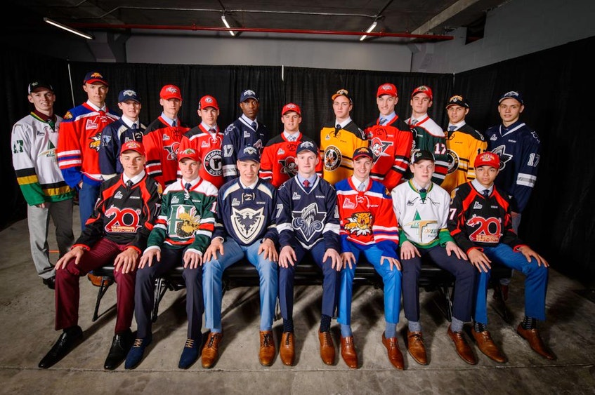 The first-rounders from the 2019 QMJHL draft gather for a photo. - QMJHL