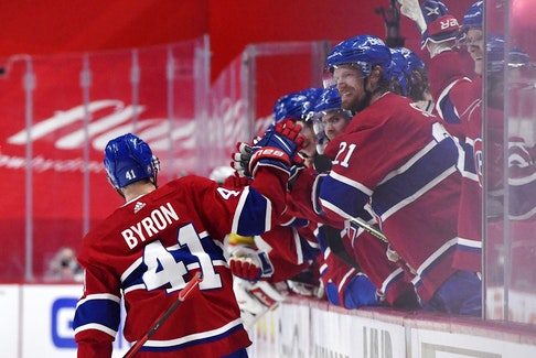 Montreal Canadiens forward Paul Byron (41) reacts with teammates after scoring a goal against the Vegas Golden Knights.