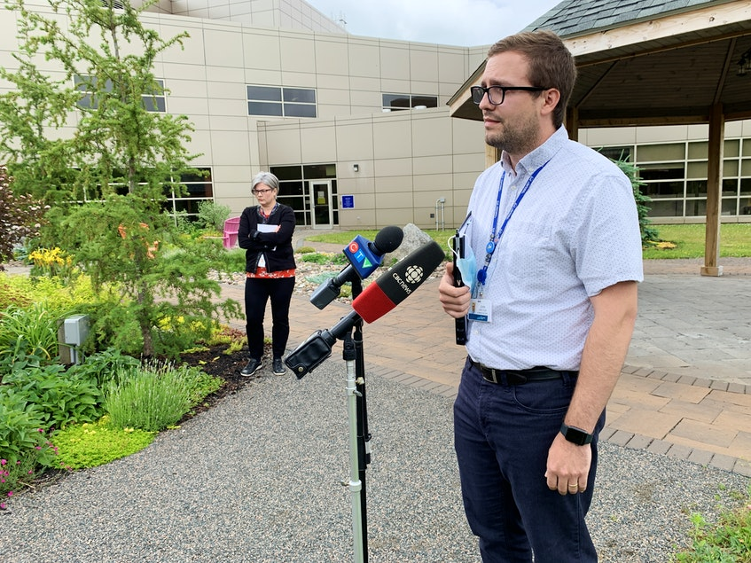 John Wright, site lead for the Cumberland Regional Health Care Centre, speaks during a press briefing at the Amherst on Wednesday afternoon. - Darrell Cole