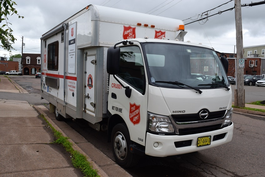 The emergency support vehicle from Halifax has refrigerators for keeping food. - Chelsey Gould