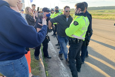 RCMP moved protesters off the highway ending a blockade of the Trans-Canada Highway at the Nova Scotia border on Wednesday night