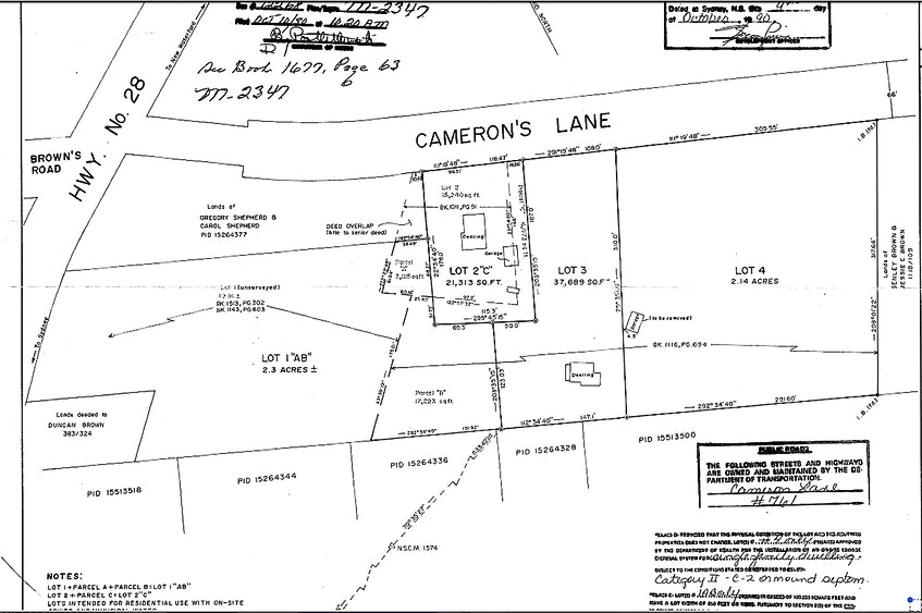 A copy of the survey of Paul Brown's late grandfather Hilary Brown's family farm in New Victoria in 1990, which highlights land his father Brud Brown purchased back in the mid 1970s. Paul Brown said his father had purchased Lot 2 and in 1990, the pie shaped piece of the land was swapped for land outlined in 2 C, to define a more rectangular shape. But controversy over the property line when he tried to sell it in 2012, halted the sale. CONTRIBUTED - Sharon Montgomery