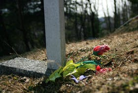 """One of the images that is part of Corner Brook visual arts student Heather Jackman's """"Steadfast"""" exhibit. The collection of photographs of plastic flowers at graveyards around the west coast is on display at the Rotary Arts Centre until Friday and will be at the Eastern Edge Gallery in St. John's starting Aug. 16."""
