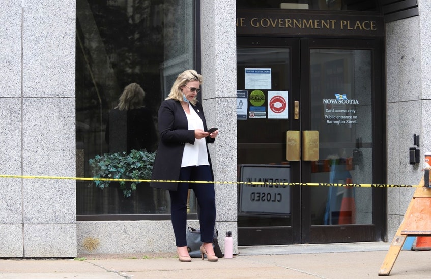 Cumberland North PC MLA Elizabeth Smith-McCrossin stands outside One Government Place in downtown Halifax on Wednesday morning, June 23, 2021, hoping to meet with Nova Scotia Premier Iain Rankin to convince him to lift travel restrictions between the province and New Brunswick. - Tim  Krochak