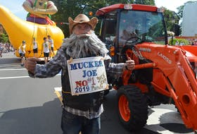 Mucker Joe, who helps clean up after the horses in the Gold Cup Parade. Filed photo.