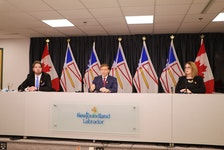 (From left) Industry, Energy and Technology Minister Andrew Parsons, Premier Andrew Furey and Jennifer Williams, president and CEO of Newfoundland and Labrador Hydro, announce Wednesday in St. John's that Nalcor Energy will be absorbed into NL Hydro. Glen Whiffen/The Telegram