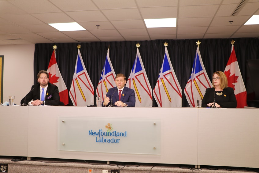 (From left) Industry, Energy and Technology Minister Andrew Parsons, Premier Andrew Furey and Jennifer Williams, president and CEO of Newfoundland and Labrador Hydro, announce Wednesday in St. John's that Nalcor Energy will be absorbed into NL Hydro. — Glen Whiffen/The Telegram