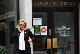 Cumberland North PC MLA Elizabeth Smith-McCrossin stands outside One Government Place in downtown Halifax on Wednesday morning, June 23, 2021, hoping to meet with Nova Scotia Premier Iain Rankin to convince him to lift travel restrictions between the province and New Brunswick. - Tim Krochak Photo