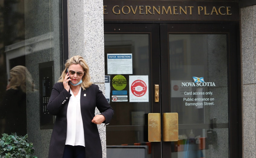 Cumberland North MLA Elizabeth Smith-McCrossin stands outside One Government Place in downtown Halifax on Wednesday, June 23, hoping to meet with Nova Scotia Premier Iain Rankin. The next day, she was removed from the PC caucus. - Tim Krochak