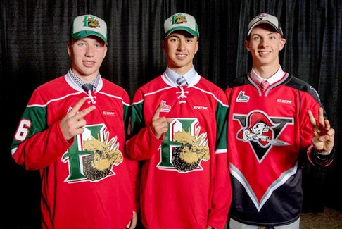 The Halifax Mooseheads selected Bo Groulx, centre, first overall and Jared McIsaac, left, second overall in the 2016 QMJHL draft. Goalie Olivier Rodrigue, right, went third to the Drummondville Voltigeurs. - QMJHL