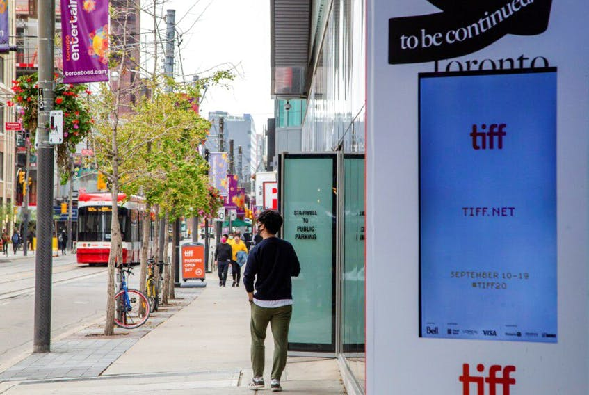 King Street West is seen nearly empty a day before the Toronto Film Festival in Toronto, Ontario, Canada September 9, 2020.