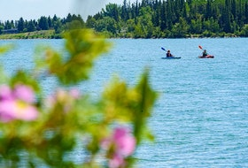 Two kayakers spent the hot summer afternoon paddling in the Glenmore reservoir as the wild roses have bloomed in Calgary on Tuesday, June 22, 2021.