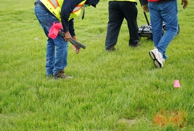 Using ground-penetrating radar, evidence of 751 unmarked graves have been located to date at the site of the former Marieval Residential School on what is now Cowessess First Nation land. A flag was placed at the location of a grave. Photo provided by the Federation of Sovereign Indigenous Nations on June 24, 2021.