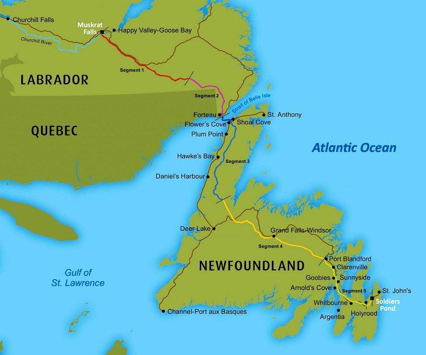 A map of the Labrador-Island-Link — Nalcor Energy