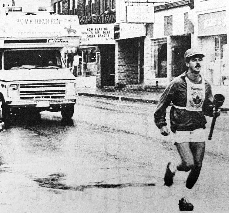 Members of the RCMP's Windsor rural and town detachments participated in the RCMP torch run in support of the 1986 Special Olympics. Members ran from Brooklyn to Hantsport, where they handed the torch over to New Minas members. - File Photo