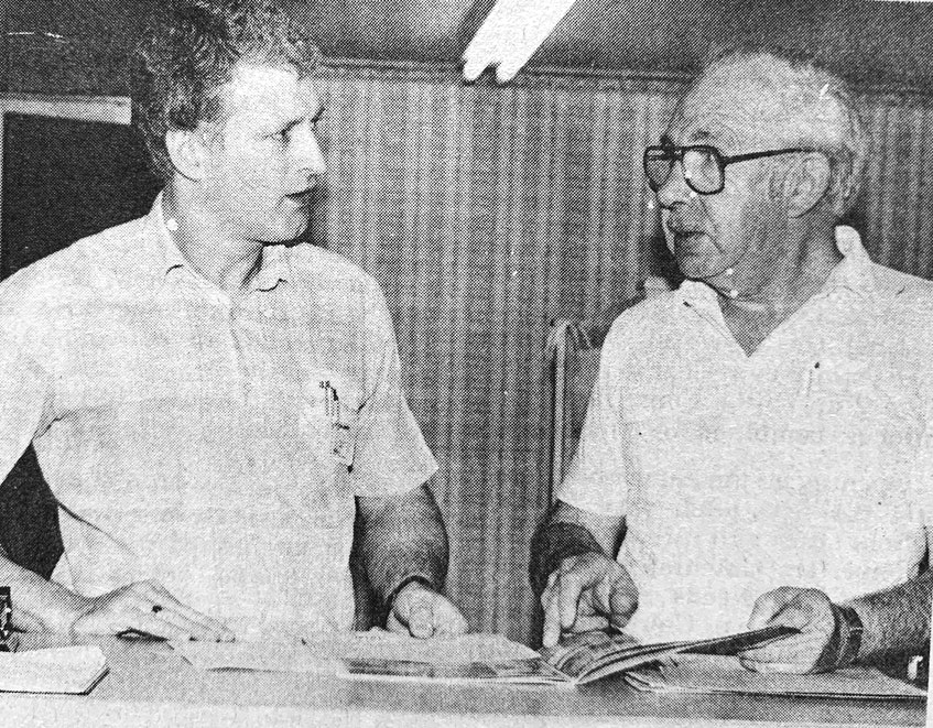 Quinn Flooring and Interiors manager Wayne Pemberton discusses a customer order with president Reg Quinn in 1986. Since opening the business a few years prior, Quinn said he'd noticed a considerable increase in people looking for professionals to redesign their homes. - File Photo