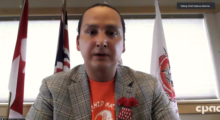Cowessess First Nation Chief Cadmus Delorme announces the discovery of 751 unmarked graves at the site of the former Marieval Indian Residential School in Saskatchewan via a virtual news conference on Thursday, June 24, 2021. - Screen  grab/CPAC