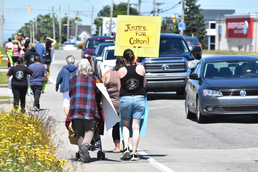 A June 24 noon-hour walk in Yarmouth was held to honour Colton Cook, who was murdered in September 2020, and Zack Lefave, who went missing on Jan. 1, 2021. Family and friends want to keep the men on the minds of the public. TINA COMEAU • TRICOUNTY VANGUARD - Tina Comeau