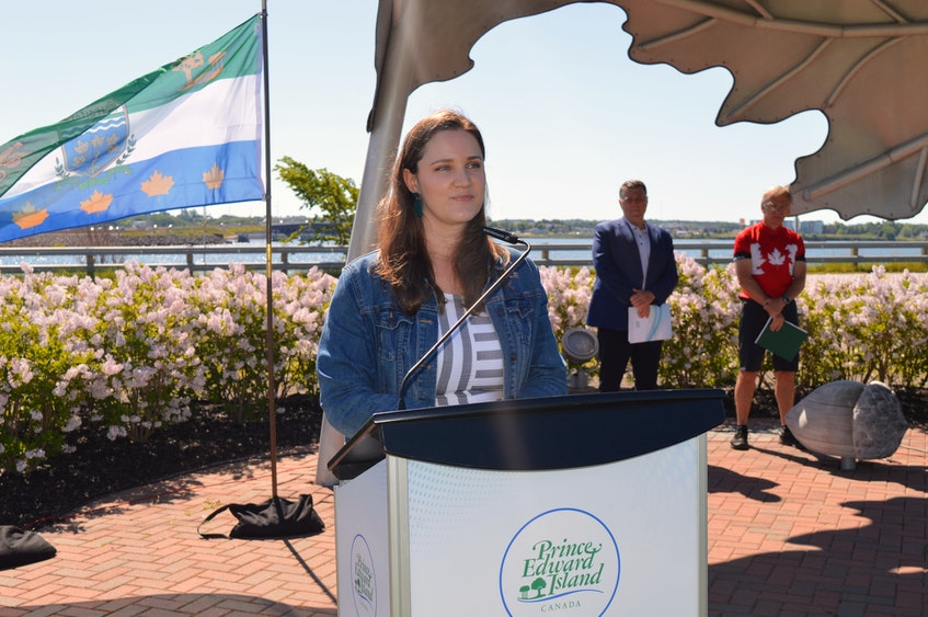 Karri Shea speaks at the official opening of the Hillsborough Bridge active transportation path on Thursday, June 24. Shea's late husband, Josh Underhay, was a big advocate for a dedicated connection for pedestrians and cyclists across the bridge. - Dave Stewart