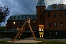 The permanent public art piece, Resonance, stands outside The Convent | Ta'n etlmawita'mk, New Dawn's centre for the arts in Northend Sydney in the waning evening light. A public event to celebrate the installation will take place on the lawn at 170 George Street on Friday at 4 p.m. CONTRIBUTED