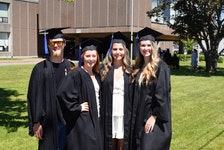 Cole Farnell, Jessica Lynds, Holly Rafuse and Brylin Buchanan got together to take graduation pictures outside Cobequid Educational Centre. They said the planned graduation was not what they expected.