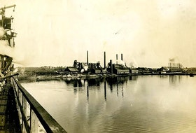 View of the steel plant in Sydney from the steel pier. Dominion Iron and Steel Company Steel Plant, ca 1905. CONTRIBUTED • 77-620-754, Beaton Institute, CBU
