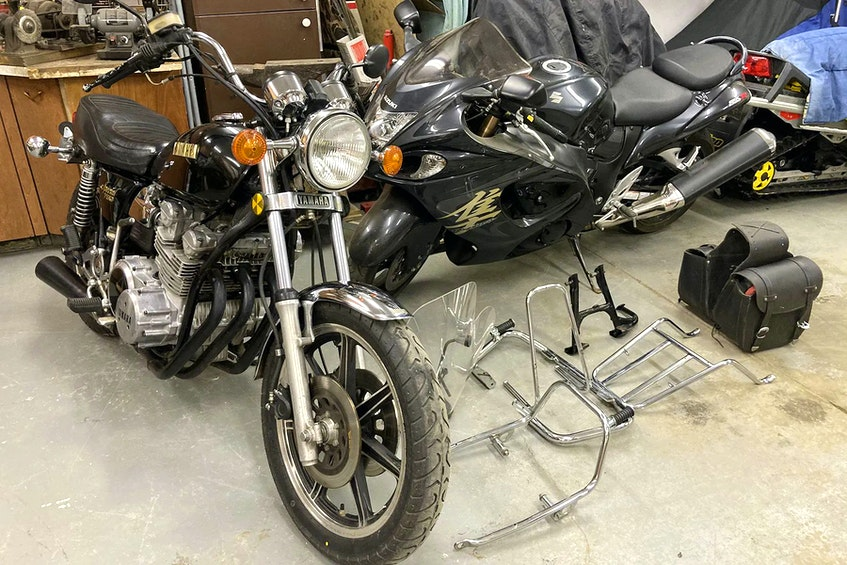 After buying the 1979 Yamaha XS750 in late 2019, Michael Rogalski didn't start resurrecting the machine until late in 2020. He removed accessories such as the handlebar-mounted windshield, sissy bar and luggage rack. Contributed/Michael Rogalski - POSTMEDIA