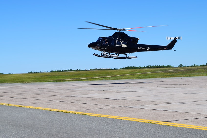 A Breton Air helicopter lands at the J.A. Douglas McCurdy Sydney Airport on Thursday. Breton Air will soon have company again on the tarmac as Air Canada resumed flights Saturday and WestJet returns on Monday. Sharon Montgomery-Dupe • Cape Breton Post  - Sharon Montgomery