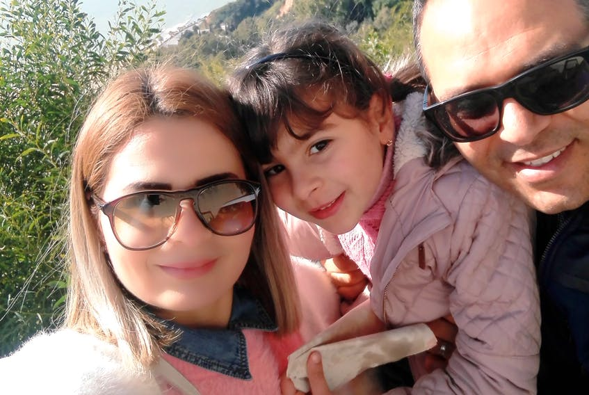 Chourouk Halloul (left), her daughter Kenza, and her husband Naim, can now come to Nova Scotia as Canada lifts travel restrictions for COPR holders. - submitted by Halloul