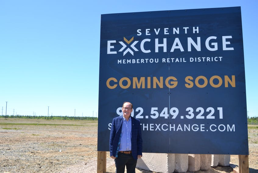 Chief Terry Paul stands next to the new sign for the Seventh Exchange, Membertou First Nation's newest development that Paul said will bring three new business in the coming months and more in the future. ARDELLE REYNOLDS • CAPE BRETON POST