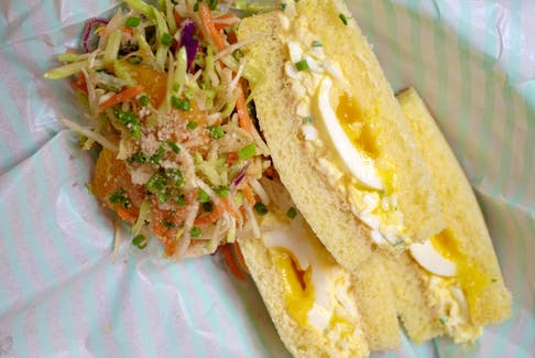 Chef Ilona Daniel puts her own twist on an egg salad sandwich. This Japanese Egg Salad Sandwich - served alongside coleslaw with Wafu dressing - is a perfect treat for a picnic.