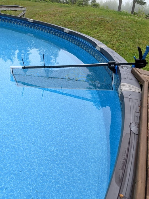 Michele Davidson, from Upper Tantallon, N.S., made a filter for her pool from a window screen. It claps on the side of the pool and catches all of the