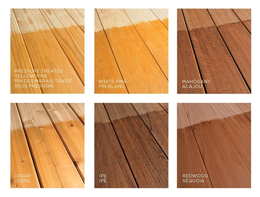 Six types of natural wood with cedar-coloured stain applied. - Photo Courtesy The Paint Shop.