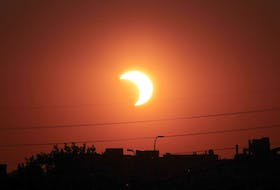 During the morning of Thursday, June 10, a partial solar eclipse will be visible in Atlantic Canada, weather permitting. Partial eclipses occur when the moon blocks part of the sun from view. This image was captured of a solar eclipse by NASA in 2014. - NASA