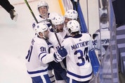 The Leafs' big four of (clockwise from left) John Tavares, Mitch Marner, William Nylander and Auston Matthews surround teaamate Zach Hyman in a goal celebration. Shanahan says not to expect any of the Core 4 to be traded. USA TODAY SPORTS