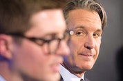 Leafs president Brendan Shanahan, left, says he and GM Kyle Dubas are sticking with the plan. STAN BEHAL/TORONTO SUN FILES