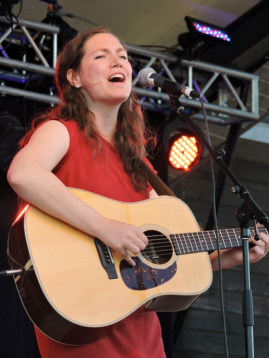P.E.I. songwriter Catherine MacLellan, seen here on the Stan Rogers Folk Festival main stage in 2015, joins the Stanfest at Home line up on Aug. 5. Her Songs & Stories show with Dave Gunning can be seen in-person at Pictou's deCoste Centre or online via stanfest.com. - Stephen Cooke