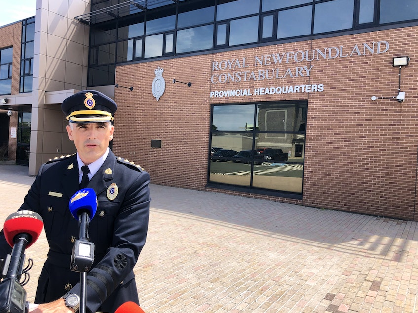 Inspector Colin McNeil, Royal Newfoundland Constabulary speaks to the media about the arrest of Kurt Churchill for the murder of James Cody in July 2020. - Joe Gibbons