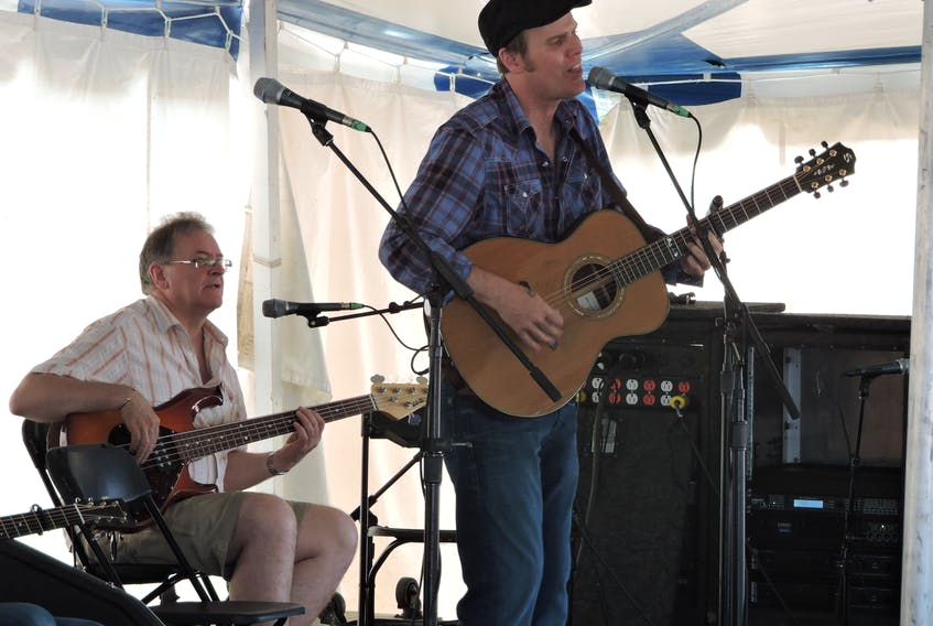 Stan Rogers Folk Festival favourite Dave Gunning, seen here with bassist Allie Bennett in a festival workshop, joins the Stanfest at Home lineup of in-person and online shows running July 2 to Aug. 5.