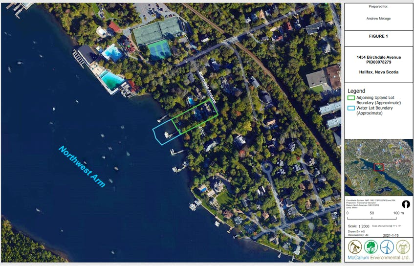 The locator map included with Andrew Metlege's proposal to infill part of the Northwest Arm behind a property he owns on Birchdale Avenue. - Transport  Canada
