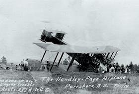 The Handley-Page flyer Atlantic, undergoing considerable repairs at Parrsboro, Nova Scotia. - Ottawa House Museum, Parasboro,