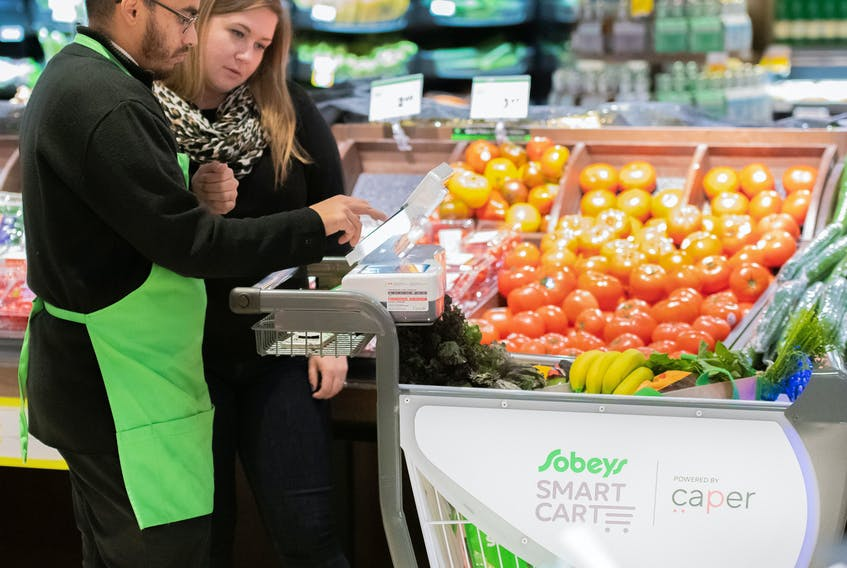 Sobeys rolled out its intelligent shopping cart, the Sobeys Smart Cart, in 2019 at the Glen Abbey Sobeys in Oakville, Ont. (CNW Group/Sobeys Inc.)