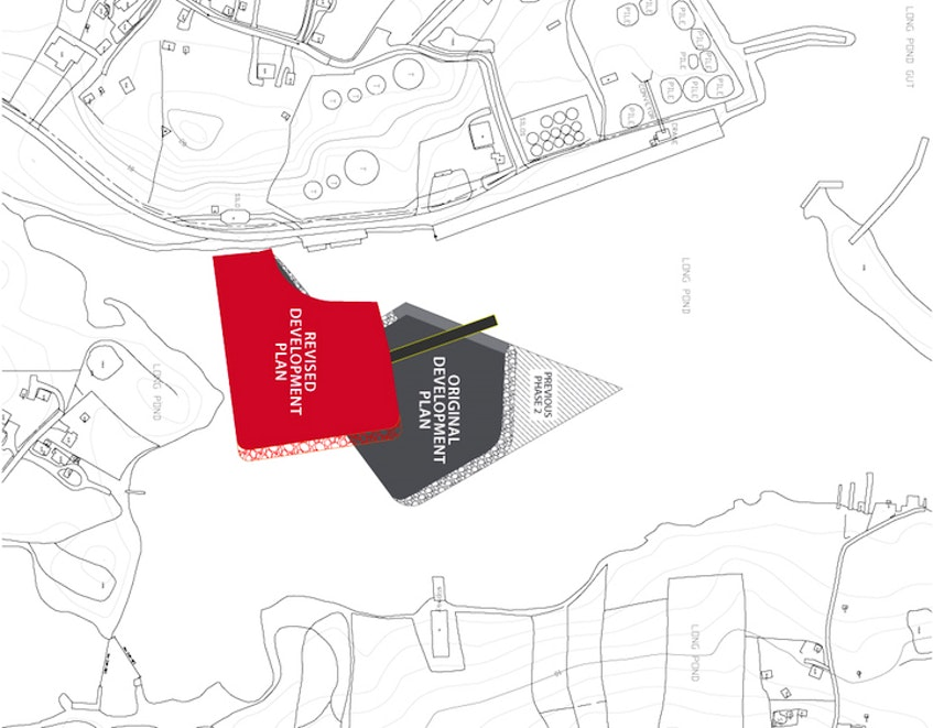 Ocean Choice International revised its plans earlier this year for a cold storage facility and pier at Long Pond Harbour, moving the location of the site a little further to the south west corner of the harbour. The area marked in red on this map shows the new location. - Contributed